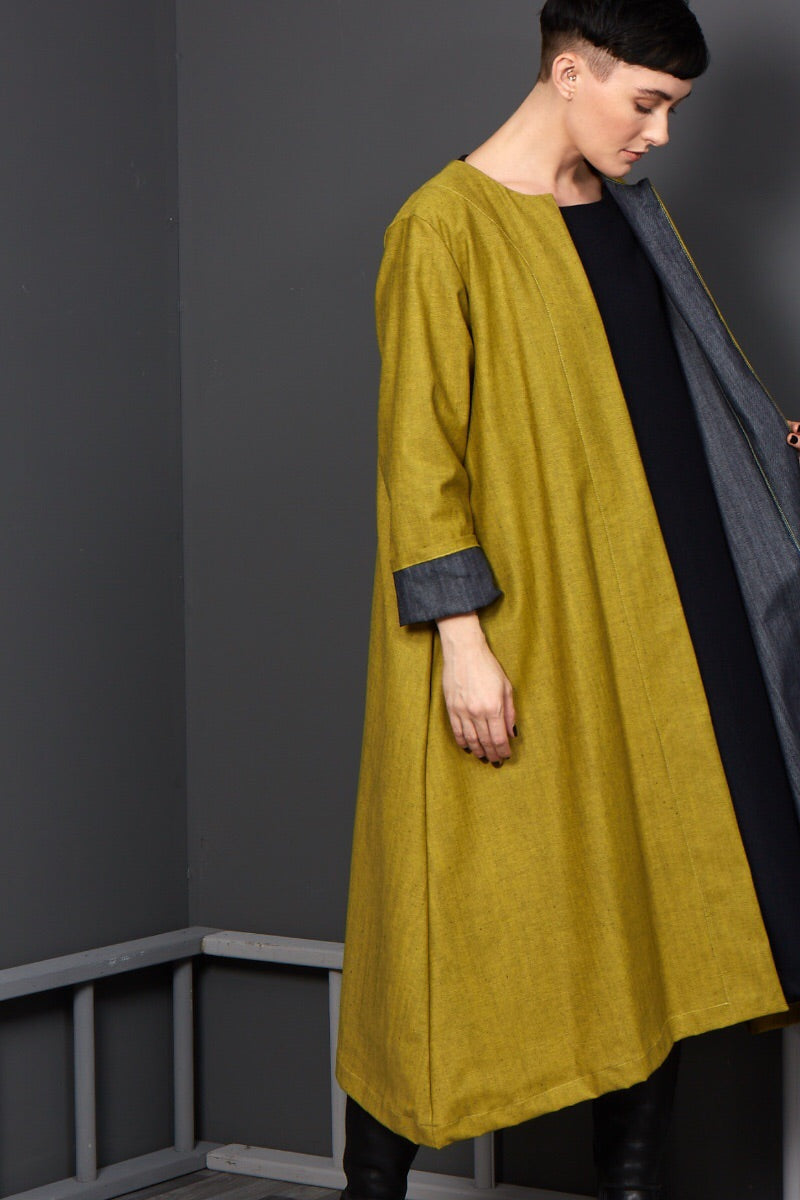 unusual mustard duster coat