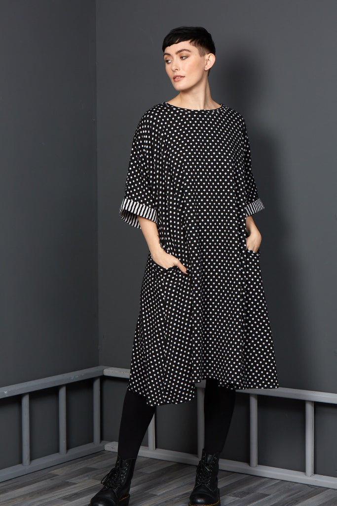 Polka dot one size dress rew clothing