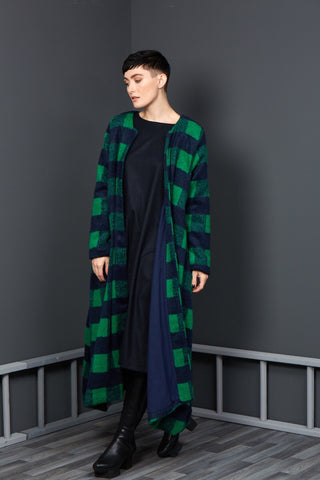 Hamilton - Green/Navy Plaid Checked Duster Coat