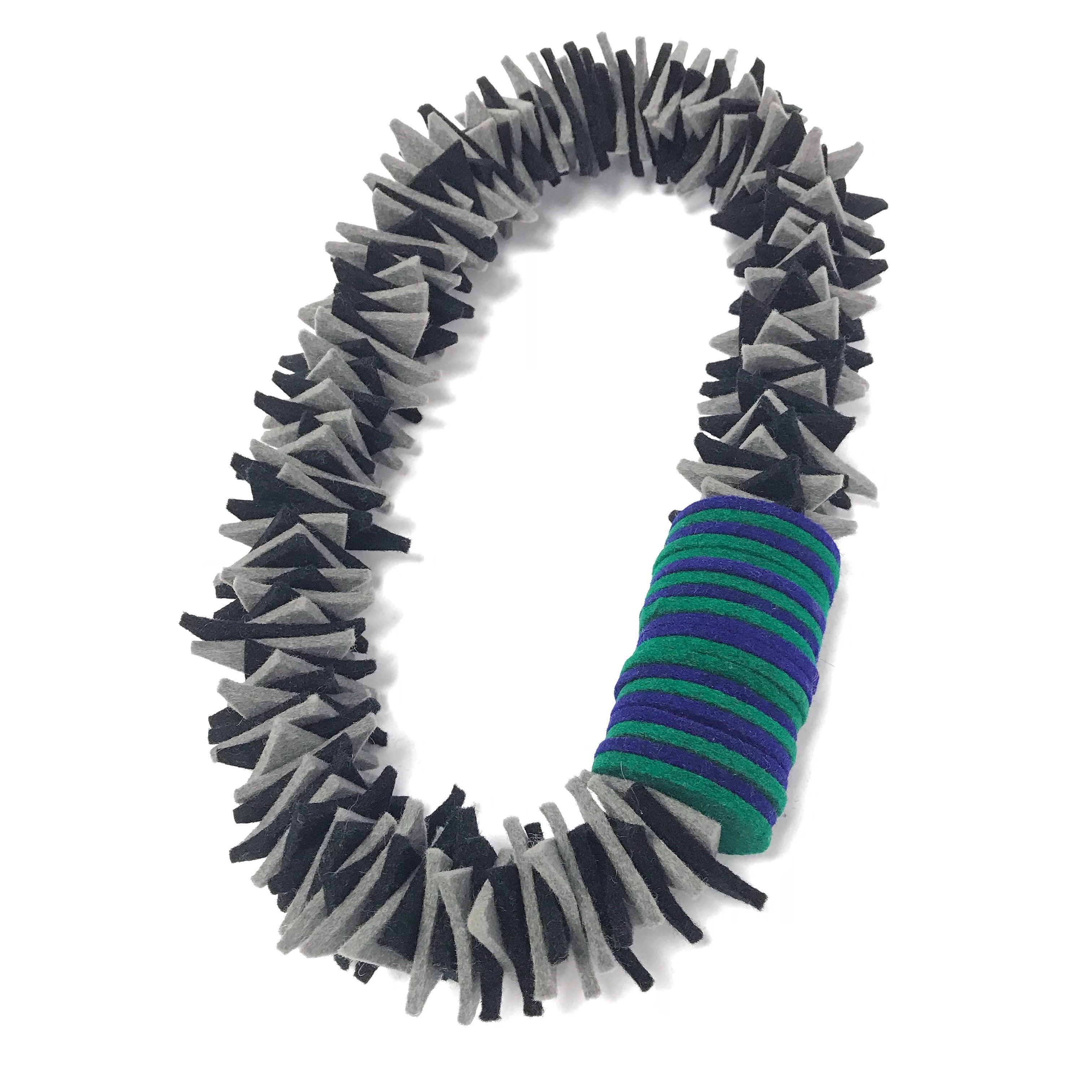 Ziggy layer felt necklace disc teal green blue bold statement quirky jewellery