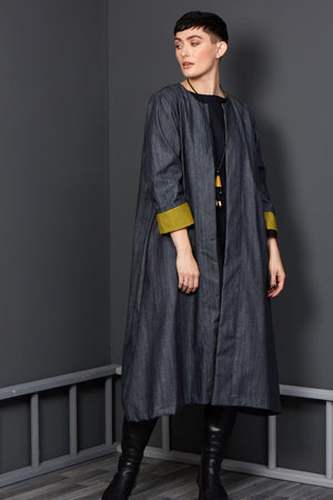 denim mustard duster coat