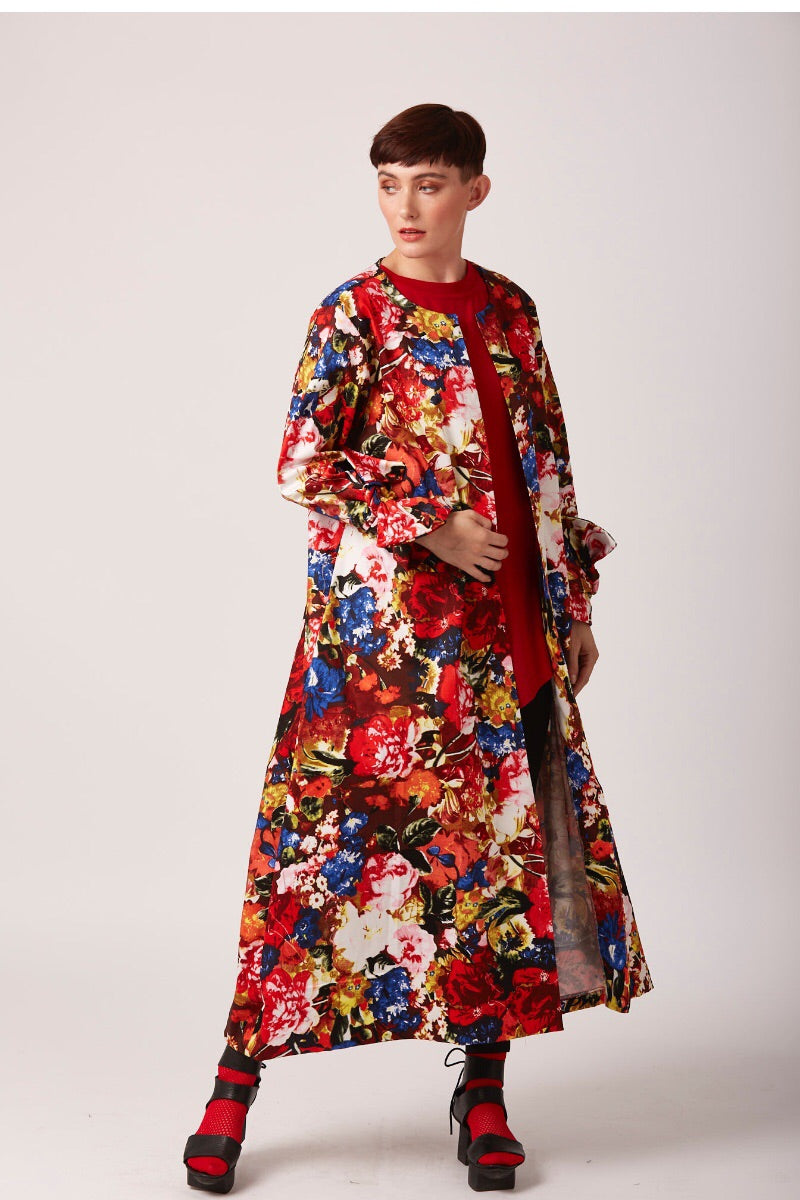 floral red summer duster coat at REW
