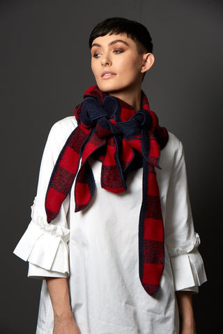 Duggan- Red and Navy Checked Scarf