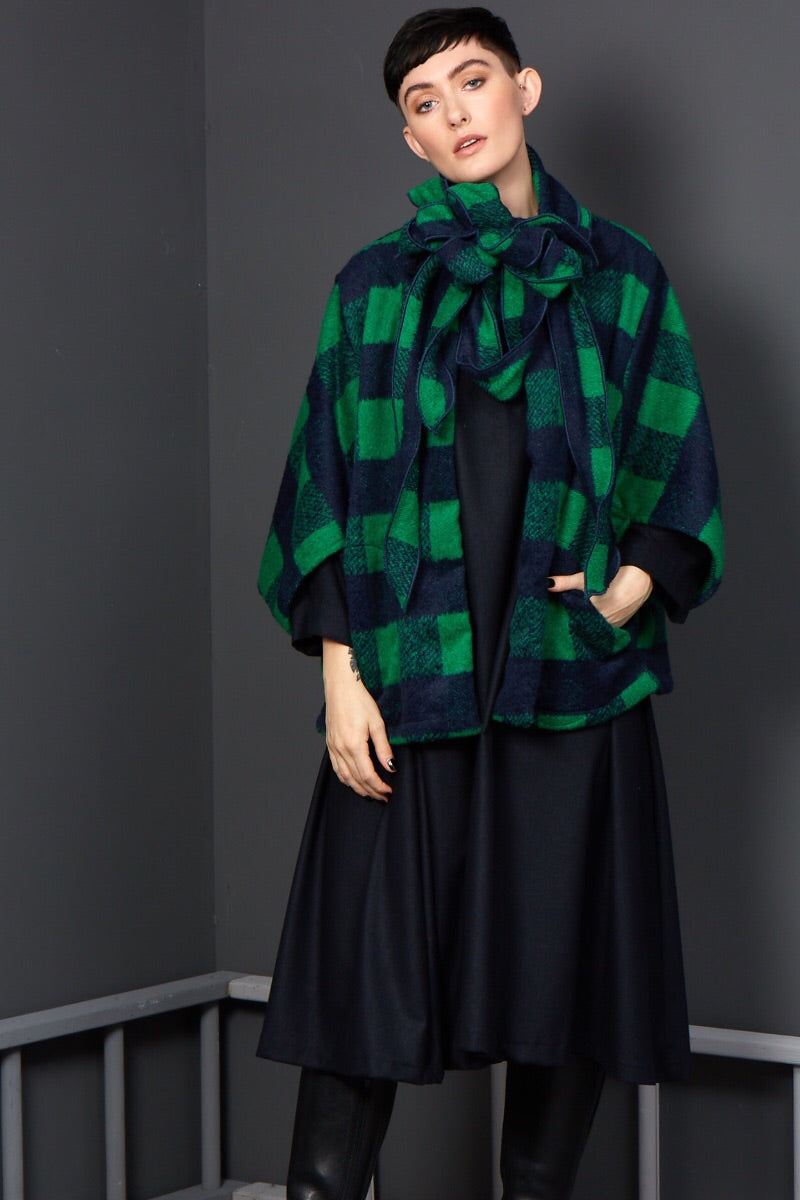 Duggan- Green and Navy Checked Scarf