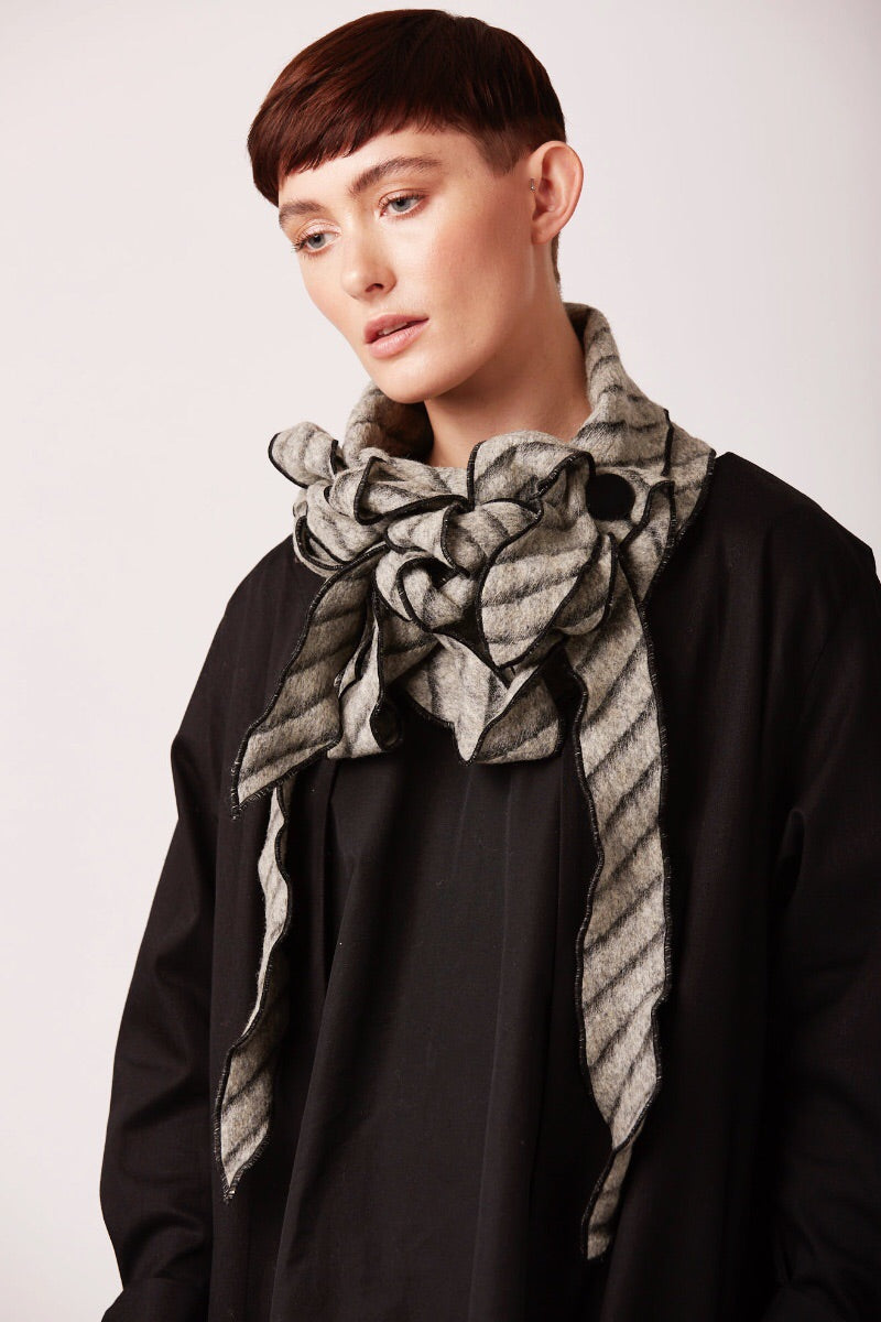 Rew clothing unusual scarves grey striped