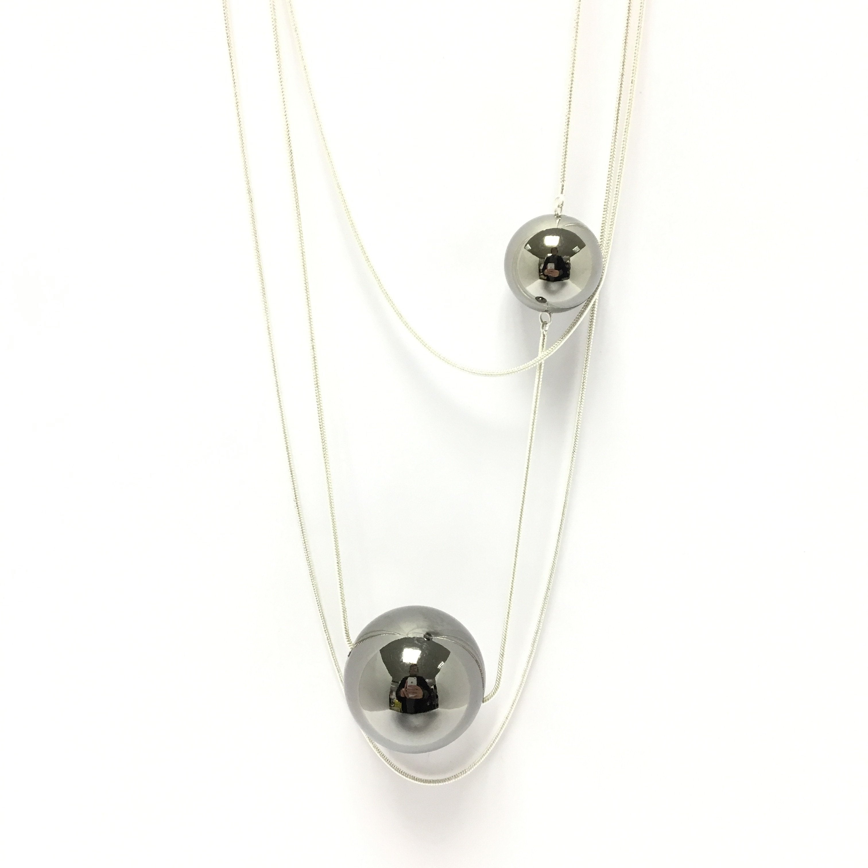 Silver Orb Necklace funky unusual