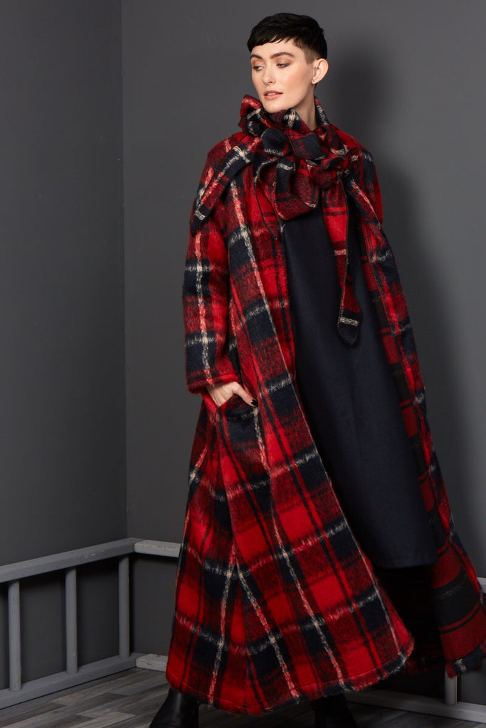 red tartan duster coat free size