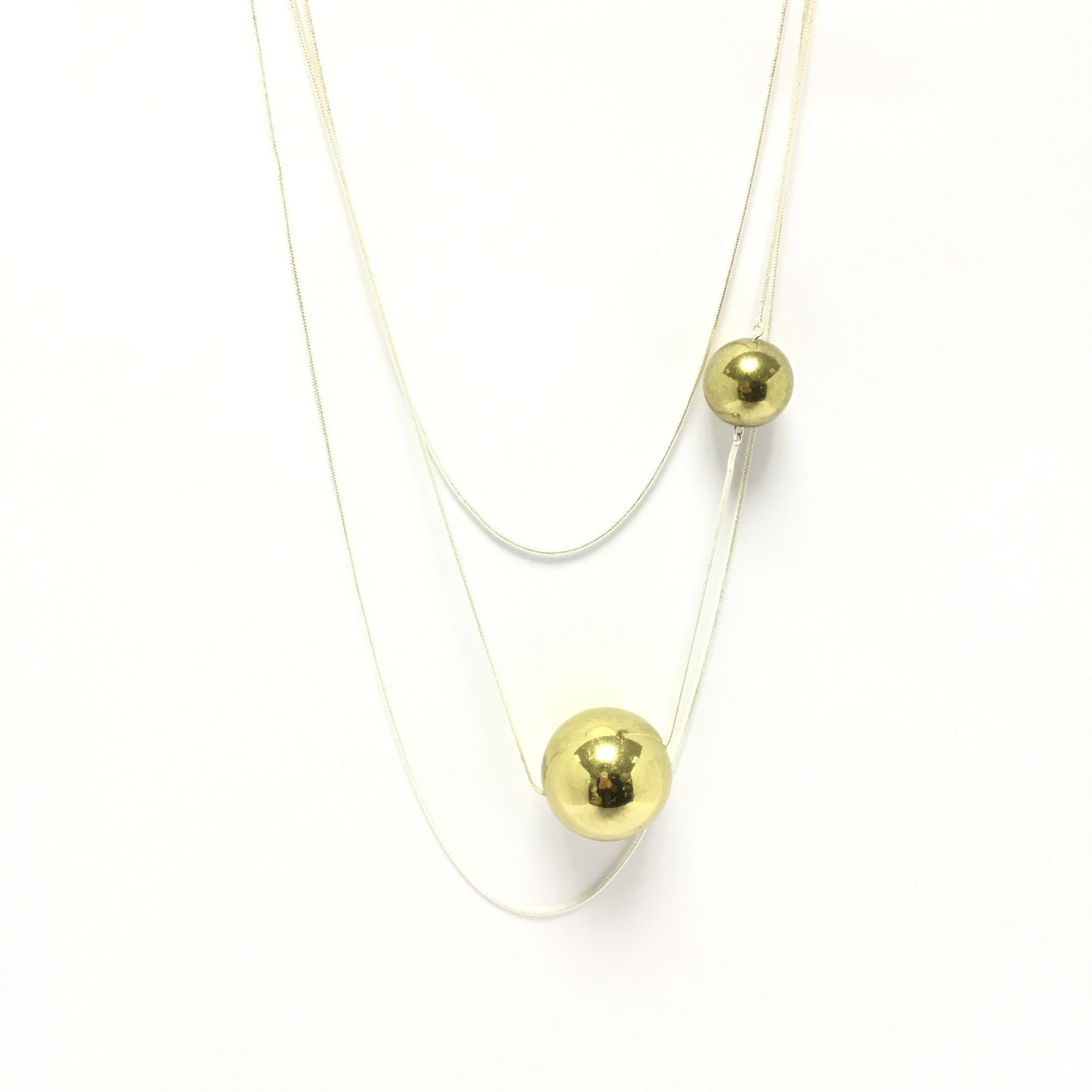 funky gold ball orb necklace