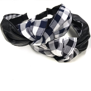 Gigi - Gingham Faux Leather Mix Headband