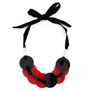 Roux - Red Ribbon Disc Necklace