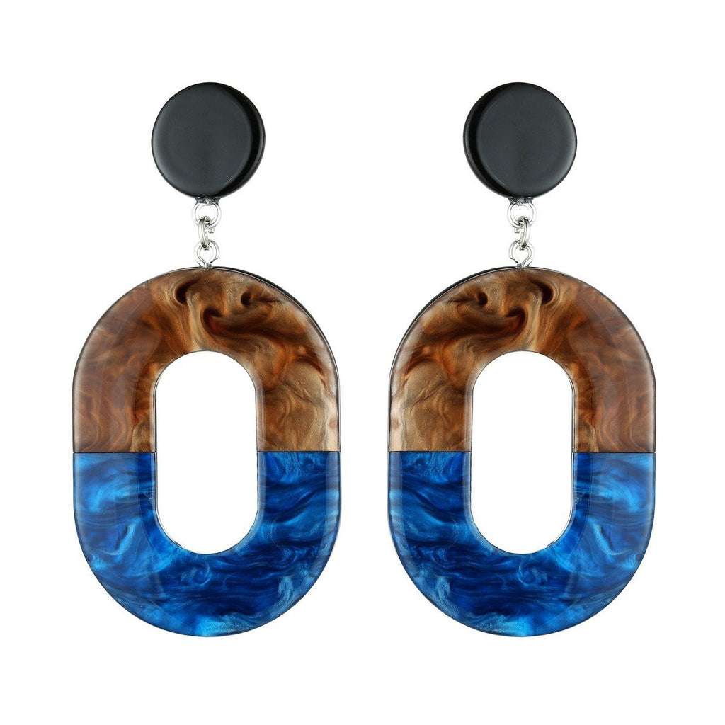 Beautiful Blue Statement Earrings In Tortoise