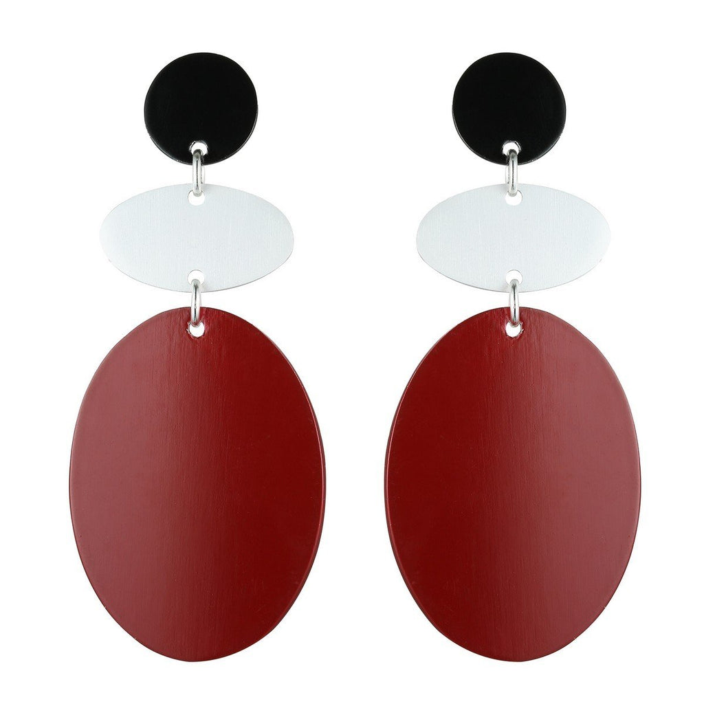Leonie - Metal Shape Statement Drop Earrings