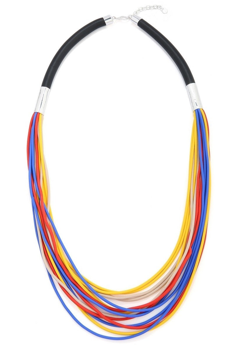 Bright Multi Coloured Strand Necklace Unusual Statement Necklace