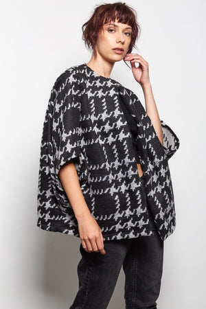 black and grey checked kimono jacket rew clothing