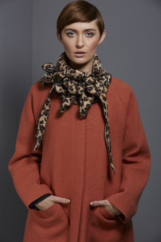 Animal print unusual collar scarf