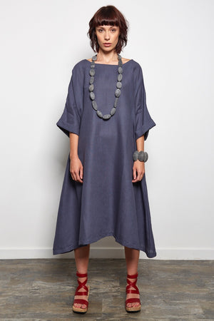 lagen look linen dress slate grey