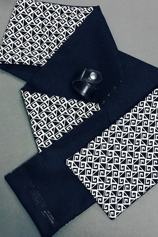 Men's geometric wool leather scarf