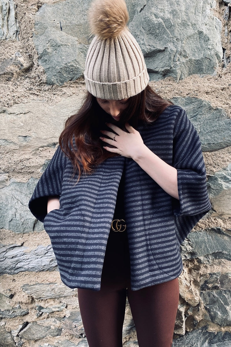Kimono - Wool Striped box jacket