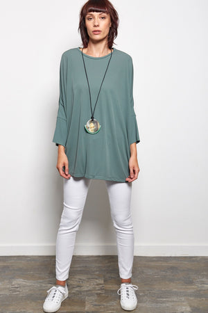 slouchy sweater green rew clothing