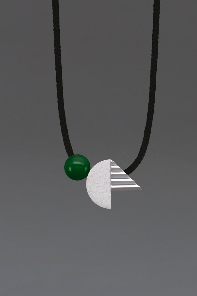 BOLD GREEN UNUSUAL RESIN CONCRETE NECKLACE.