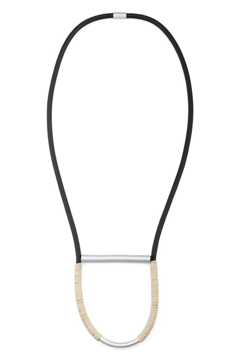 Long Rubber Cream Black Necklace Unusual Statement