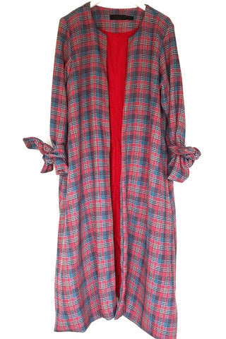 Pink Tweed Cotton Mix Duster Coat