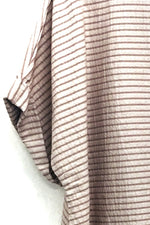 Polly - Pink striped drape asymmetrical top