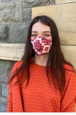Ladies 3 ply Pink Geometric Face Mask