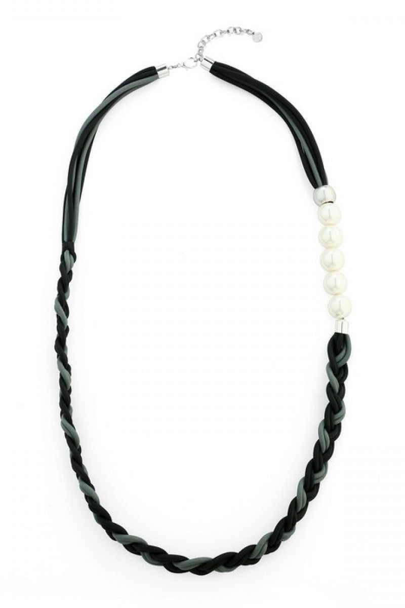 Pippa - Black And Grey Long Rubber Pearl Necklace
