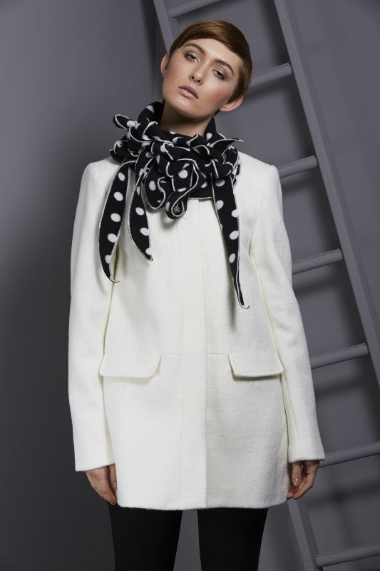 winter scarf on trend polka dot button and go