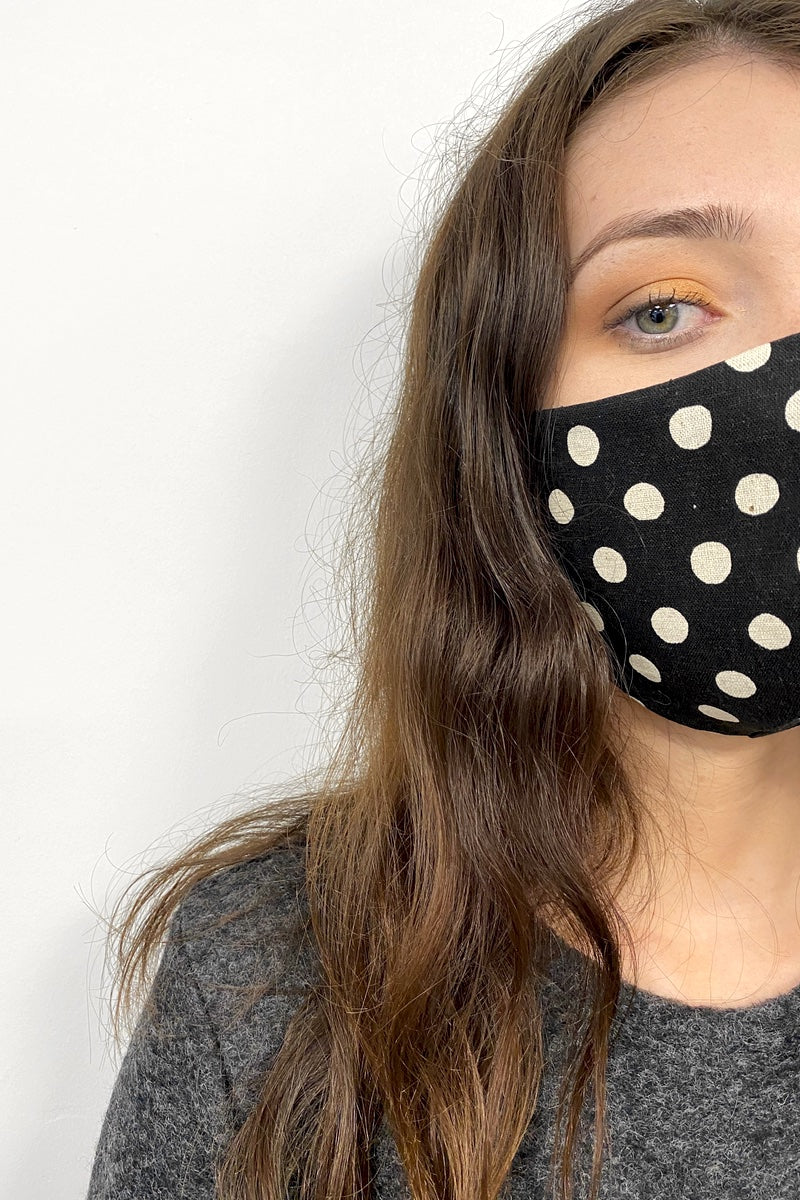 Fabric Face Mask - Polka dot  linen