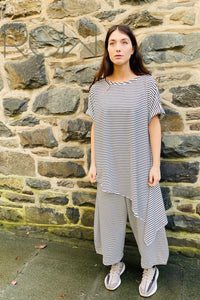 Polly - White With Black Stripes Loose Fit T Shirt
