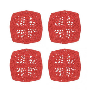 unusual red coasters crocheted