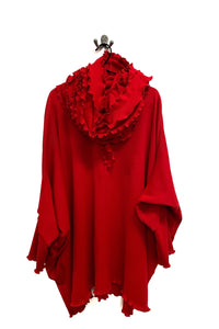 rew clothing poncho jumper bright red