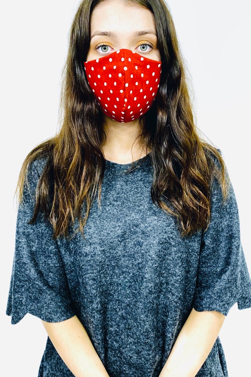 Face Mask Polka Dot - Red