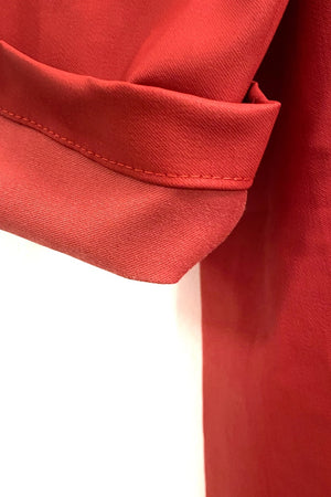 Bright Red - Waxed Duster Coat Shower Proof