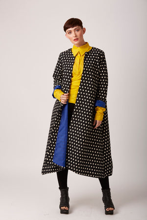 Unusual polka dot coat by rew clothing