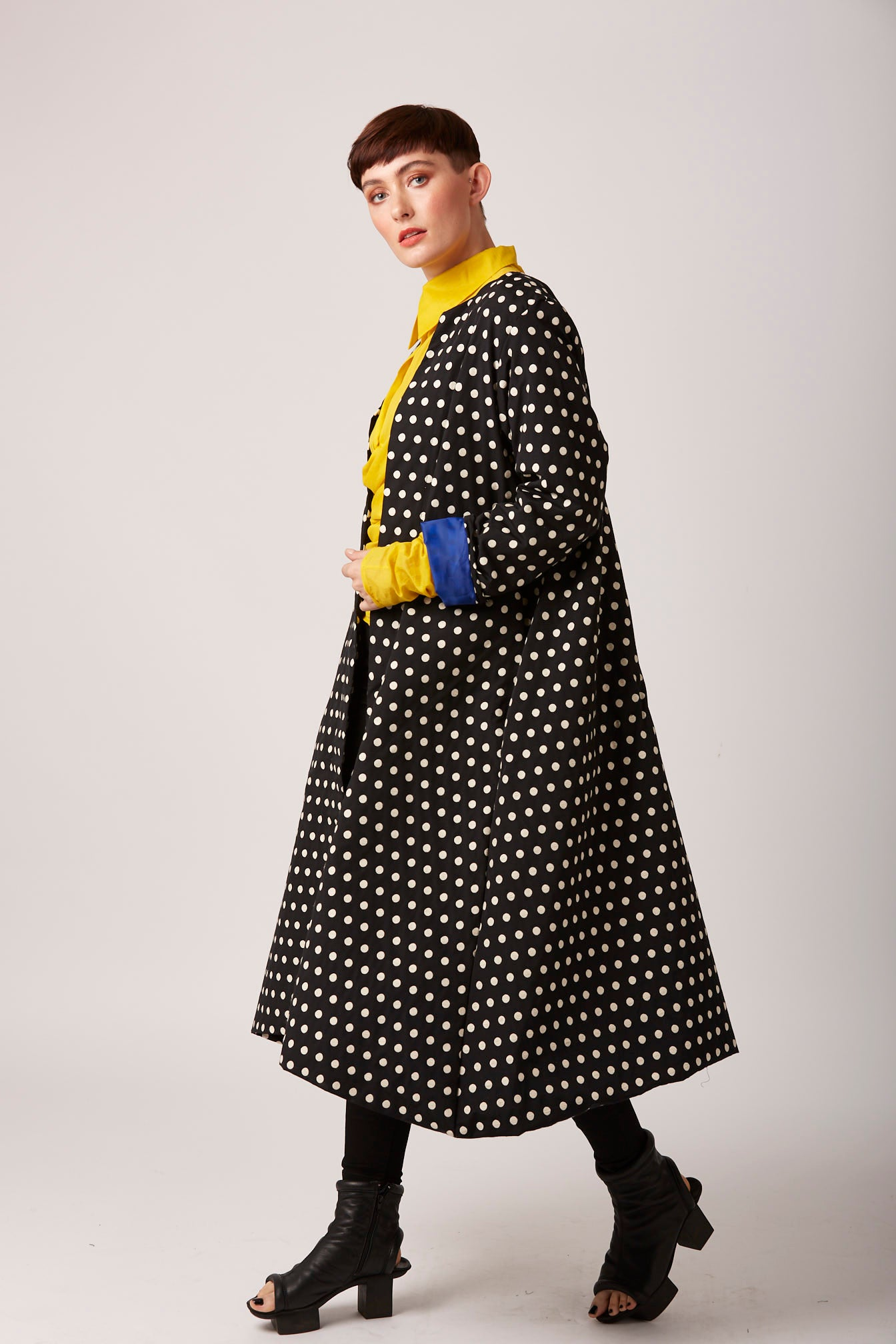 Spotty polka dot monochrome coat