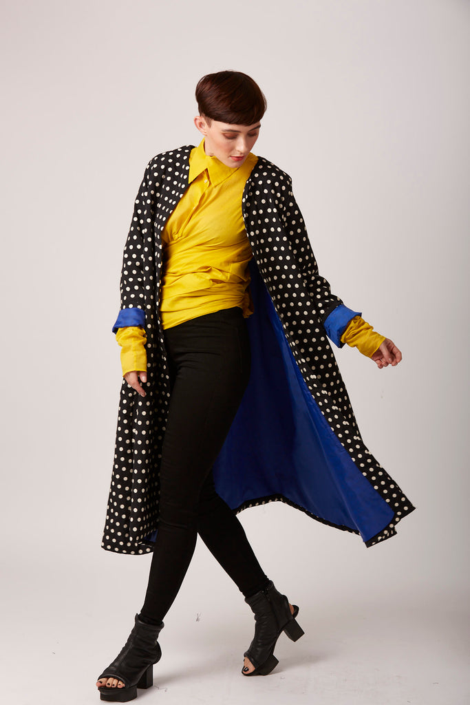Polka dot duster coat rew clothing