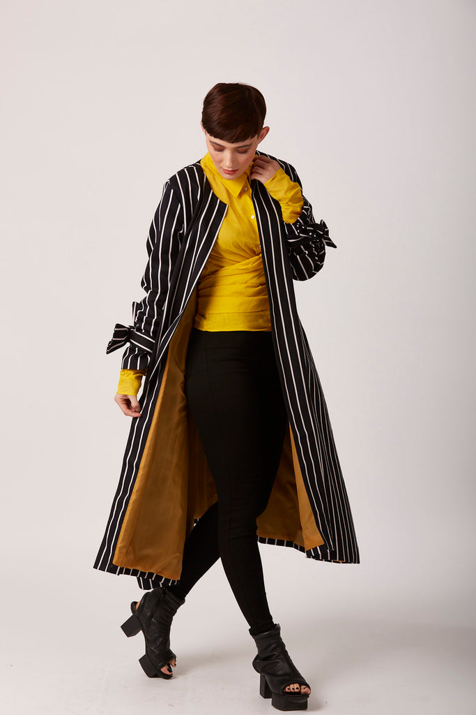 Striped unusual duster coat