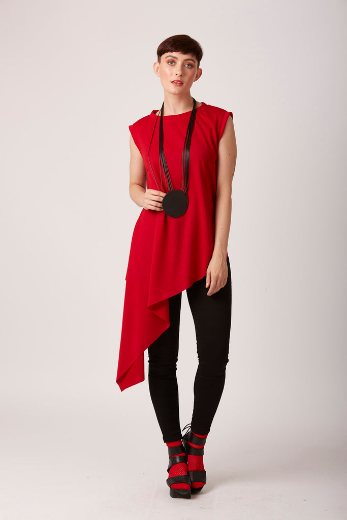Asymmetrical summer vest unusual red