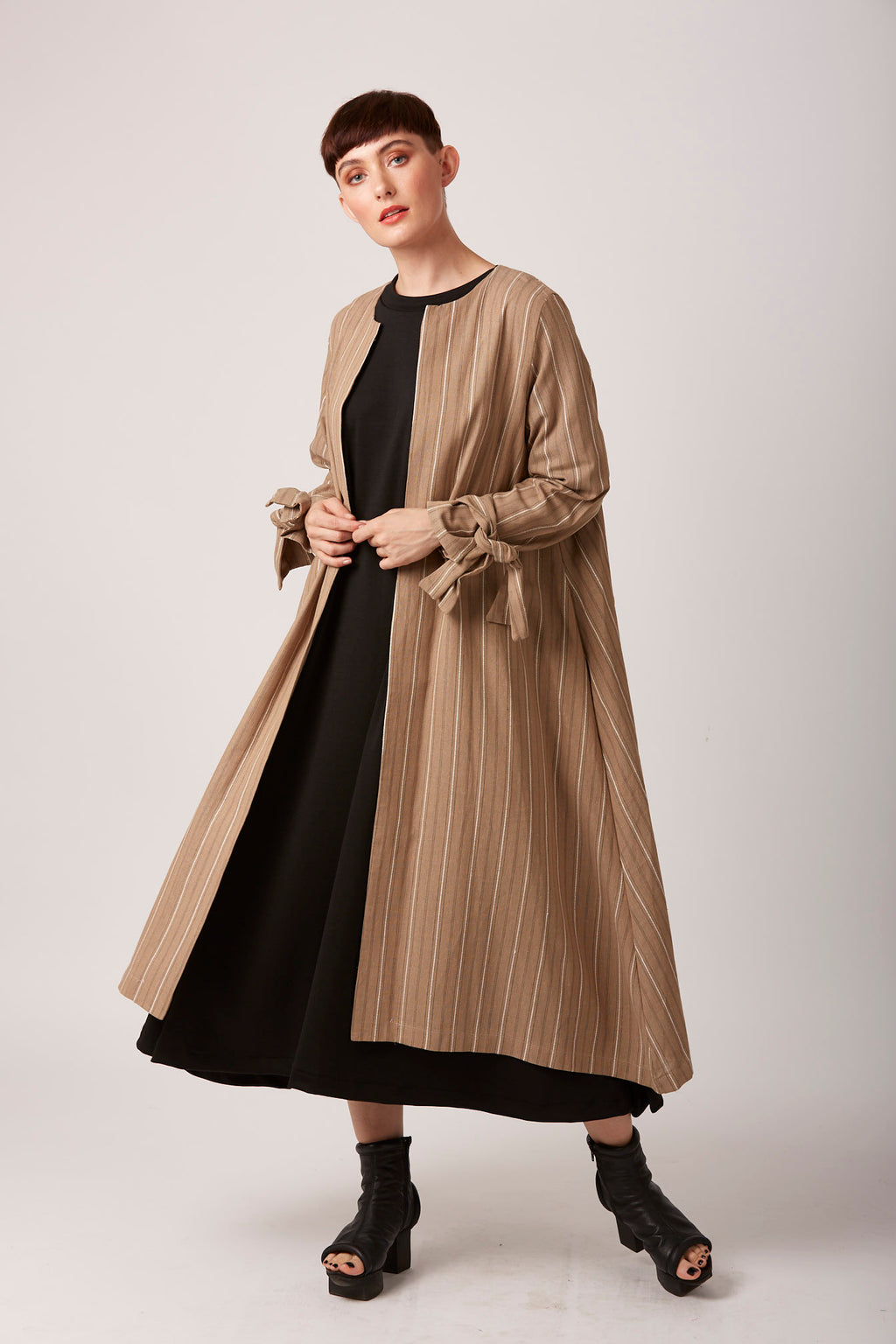 Striped linen duster coat