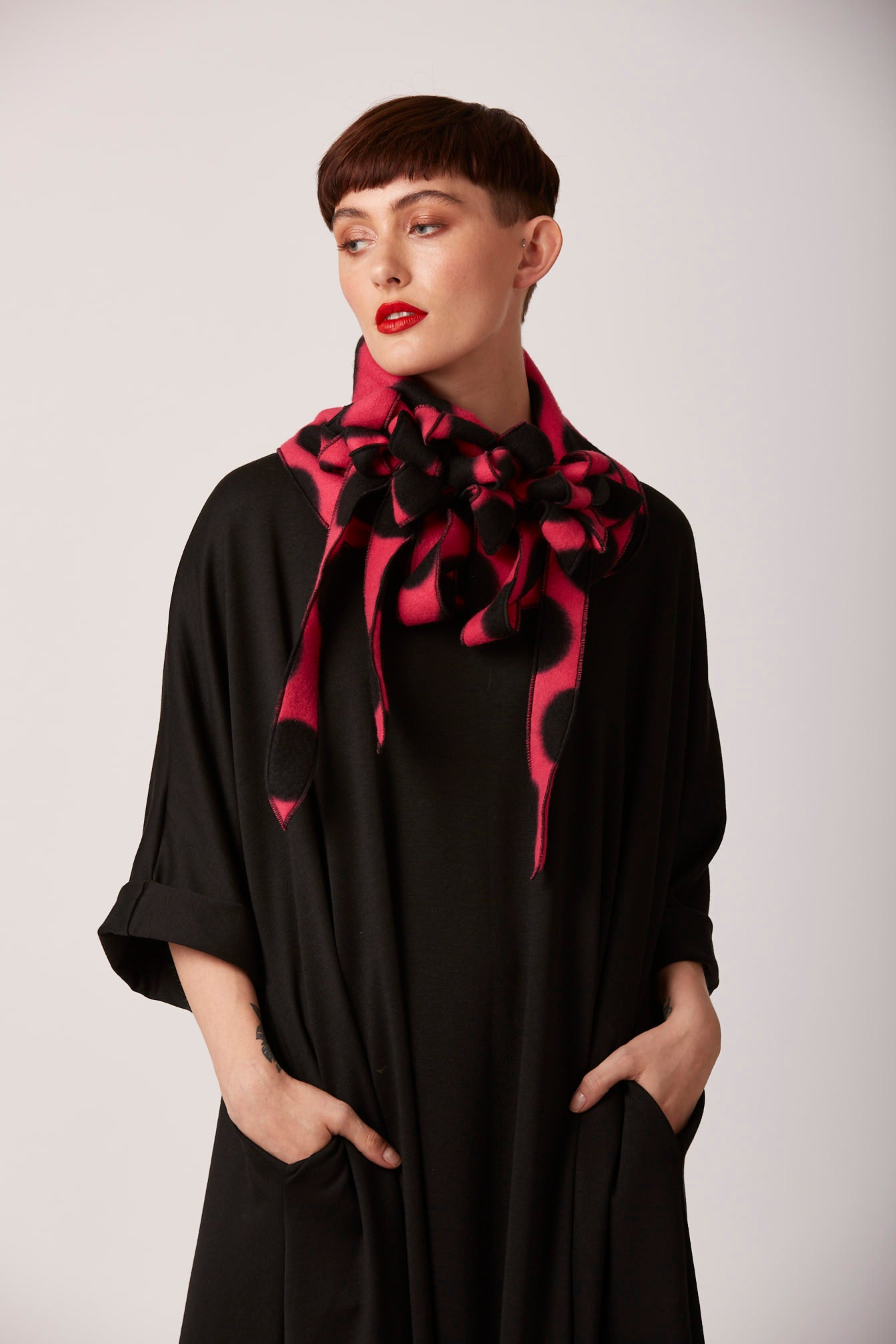 Unusal pink and black scarf