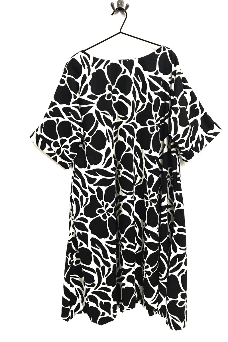 rew clothing floral black and white dress