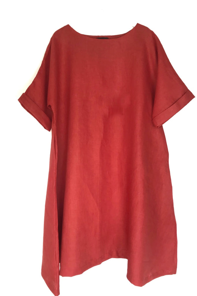 stylish summer dress linen flared fit