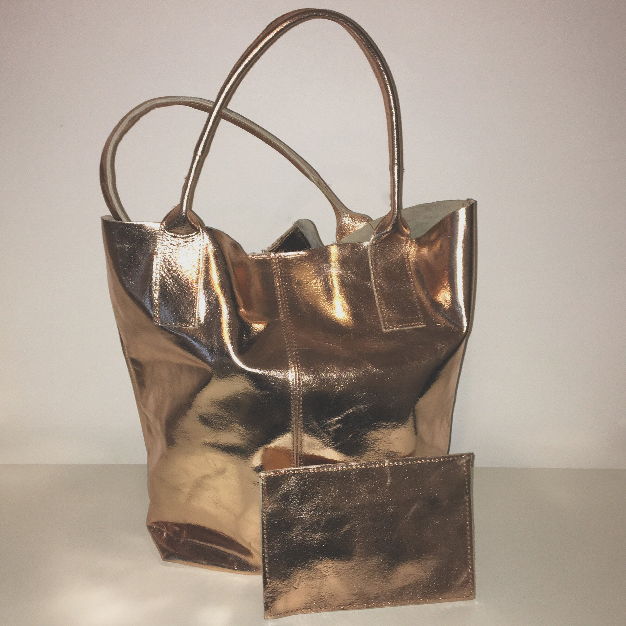 Metallic Slouch Shopper Rose Gold
