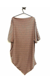 Seena - Slash neck pink and navy striped dress