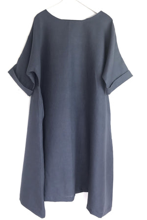unusual flared summer linen dress grey