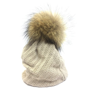 ecru slouch beanie with fur pompom