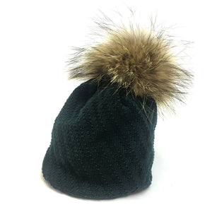 bottle green slouch pom pom hat